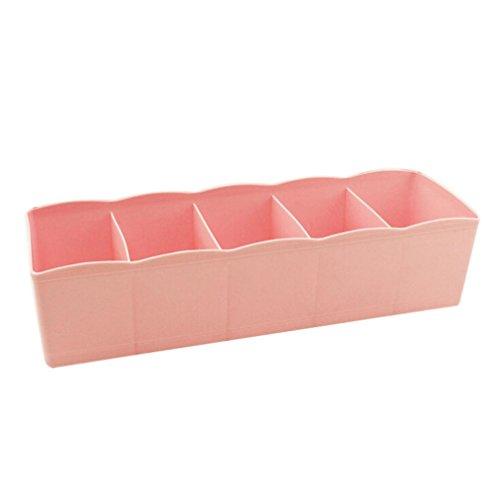 5 Zellen Plastik Organizer Aufbewahrungsbox Bindung BH Socken Schublade Kosmetikteiler ordentlich By Dragon (Rosa)