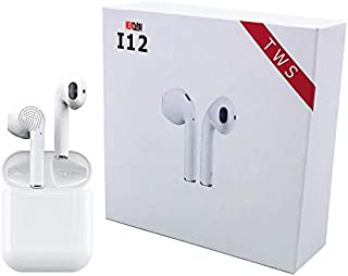 i12 TWS Realtek Chipset Bluetooth 5.0 Earphone True Wireless Sports Touch Earbuds Sweatproof headset 3D Stereo HIFI Air pod (Realtek High-performance BT chipset White)