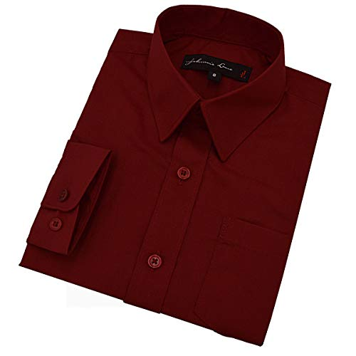 Johnnie Lene Boy's Long Sleeves Solid Dress Shirt #JL32 (2T, Burgundy Wine)