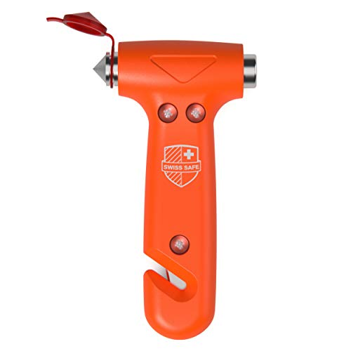 Swiss Safe 5-in-1 Car Safety Hammer, Emergency Escape Tool with Car Window Breaker and Seatbelt Cutter, Orange