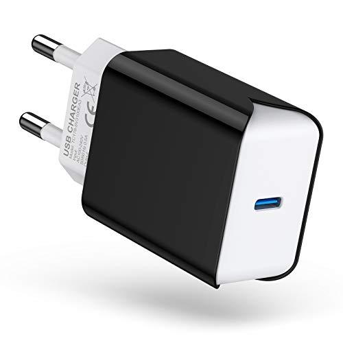 SCHITEC Cargador USB C de 20 W, fuente de alimentación USB C PD 3.0, adaptador de carga rápida para iPhone 12/12 Pro/12 Pro Max/12 Mini/11Pro/X,Pad Pro, AirPods Pro, Samsung Galaxy S21/S20/S10, etc.