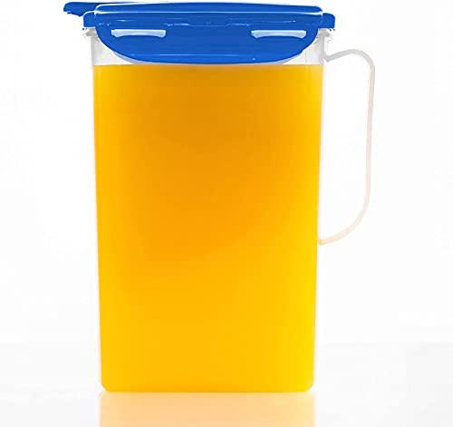 LOCK & LOCK Aqua Kühlschranktür-Wasserkrug mit Griff, BPA-freier Kunststoff-Krug mit Klappdeckel, perfekt für die Zubereitung von Tee und Säften, 2 Liter, blau