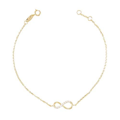 L' Atelier d'Azur - Collana–Bracciale da donna in vero oro giallo–Simbolo dell'infinito con zirconi incastonati