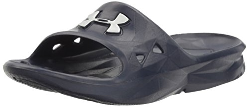 Under Armour Boys' Locker III Slide Sandal, Midnight Navy (410)/Metallic Silver, 7