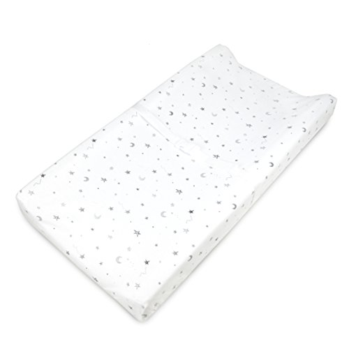 TL Care Printed 100% Cotton Jersey Knit Fitted Contoured Changing Table Pad Cover, Grey Stars and Moon