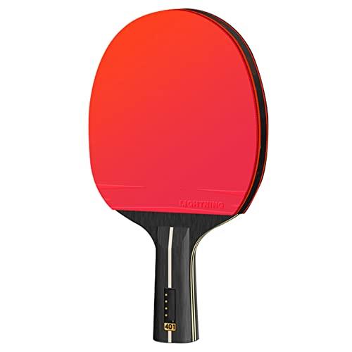 LINGOSHUN Raquetas de Tenis de Mesa,Madera de 5 Capas,Paleta de Ping Pong para Principiantes para Niños,Juego Familiar para Adultos,Goma Ofensiva / 4 Stars/Short handle