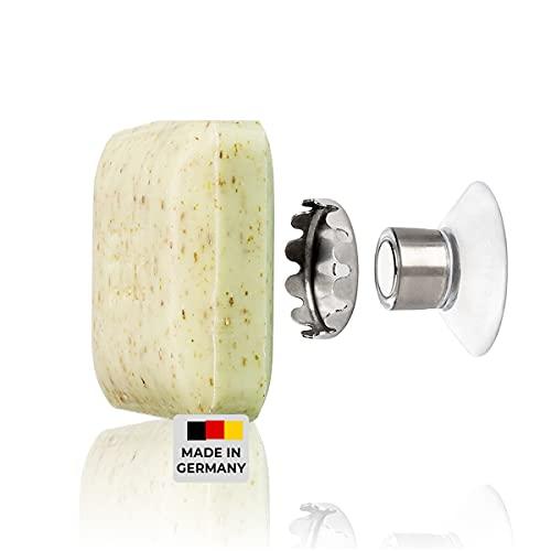 SAVONT, Seifenhalter mit Magnet Classic Edition ohne bohren mit Saugnapf für Waschbecken Dusche und Badewanne, Silber