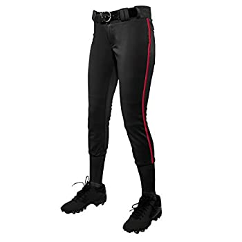 CHAMPRO Tournament Traditional Low Rise Softball Pant with Contrast-Color Braid Piping Black Scarlet Large