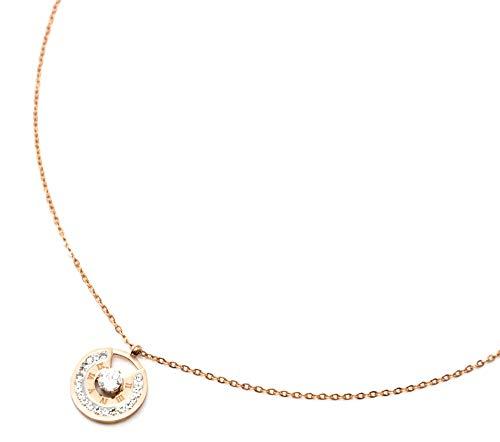 Oh My Shop CC2798E Halskette mit Anhänger, Kreis, römische Zahlen, Stahl, Roségold, mit Strass und Stein