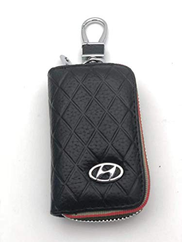 DEFTEN Hyundai Premium Leather Car Key Chain Coin Holder Zipper Case Remote Wallet Bag Suitable for All Hyundai Models (Black)
