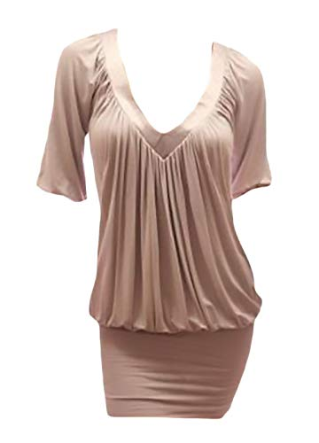 HX fashion Damen Minikleid Elegant Sommerkleider Große Größen Shirtkleid 3/4 Ärmel V-Ausschnitt Classic Kurz Etuikleid Uni-Farben Pastell Gemütlich Rüschen Partykleider Kleidung
