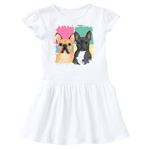inktastic French Bulldogs with Colorful Grunge Infant Dress 6 Months White 39903