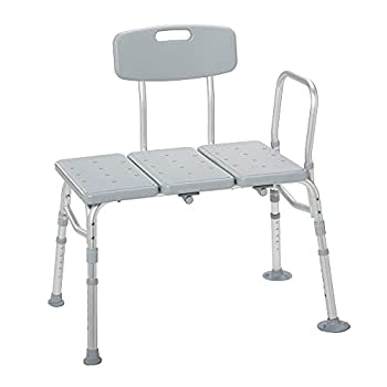 Drive Medical 12011KD-1 Plastic Tub Transfer Bench with Adjustable Backrest  Color May Vary  Gray