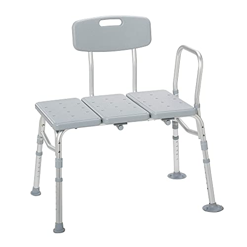 Drive Medical 12011KD-1 Plastic Tub Transfer Bench with Adjustable Backrest (Color May Vary)