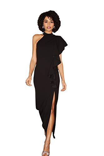 Little Mistress - Vestido largo con volantes y escote halternec, color negro