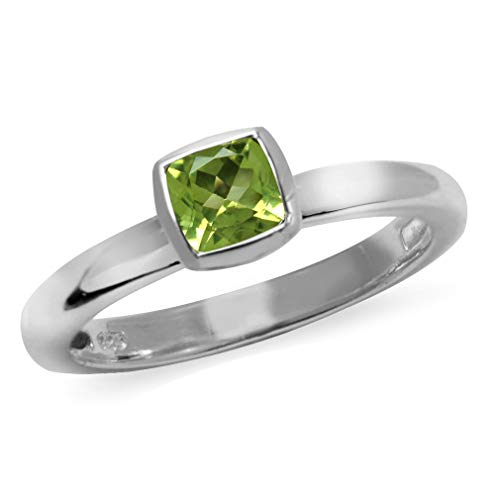 Natural Peridot 925 Sterling Silver Solitaire Stack//Stackable Ring SZ 6