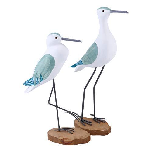 EXCEART 2 Piezas de Escultura de Aves de Mar de Madera Escultura de Aves de Gaviota Escultura de Estilo Mediterráneo Mesa de Escritorio Decoración Verde