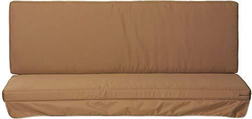 Hollywoodschaukel Comfort Schaukelauflage Kissen 3 Sitzer Sandfarben mit wasserabweisendem Polyesterstoff und abnehmbaren Bezug