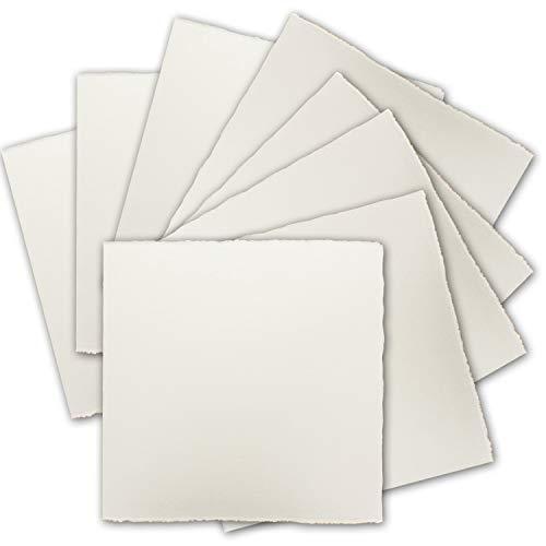25x Quadratische Vintage Einzel-Karten, echtes Bütten-Papier, 16 x 16 cm - Natur-Weiß 225 g/m² - Vellum Oberfläche - Original Zerkall-Bütten