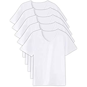 [Workstance] インナーシャツ メンズ 5枚組 (ホワイト, XL (175cm-185cm))