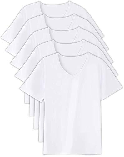[WORKSTANCE] インナーシャツ メンズ 5枚組 (ホワイト, M (165cm-175cm))