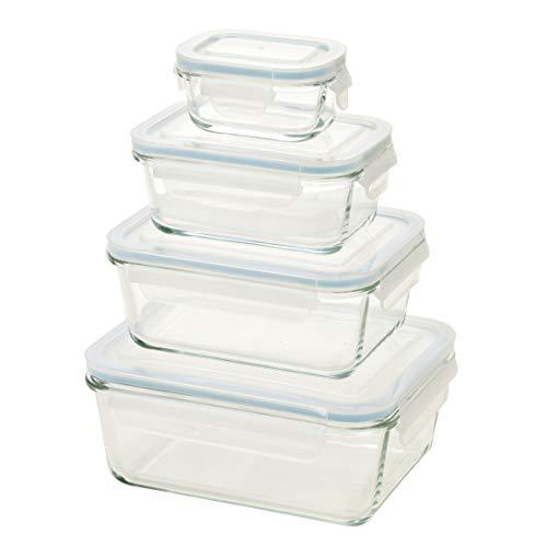 Homiu Boîtes de conservation en verre avec couvercles pour four, lave-vaisselle, micro-ondes, congélateur hermétique, résistant aux chocs 8Pcs Glass Container Set transparent