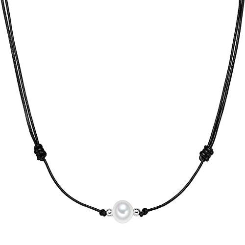 Valero Pearls Damen-Kette Echtleder Hochwertige Süßwasser-Zuchtperlen in ca. 10 mm Rund weiß 925 Sterling Silber 75 cm - Lederkette mit echten Perle weiss 60200912