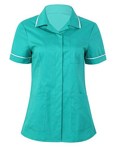 iixpin Damen Schlupfkasack Schlupfjacke Schlupfhemd Berufskleidung für Medizin und Pflege OP-Kleidung V-Neck Top Gesundheitswesen Grün X-Large
