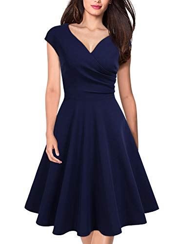 MISSMAY Women's Retro Deep V Neck Cap Sleeve Cocktail Party Fit and Flare Dress, Medium, Navy Blue