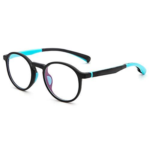 VEVESMUNDO Kinderbrille Ohne Sehstärke Brillenfassung Computer Blaulichtbrille Brillengestell Retro Rund Brillerahmen Flexibel Silikon mit Brillenetui (Matt Blau, Anti Blaulicht Kinderbrille)