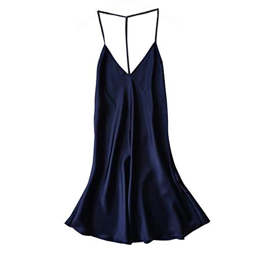 MRULIC Damen Satin Sleepwear Pyjamas aus Seide Wäsche Cami Tops Leicht und Bequem Nachthemd Kleider(Blau,EU-34/CN-S)