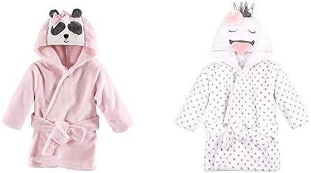 Hudson Baby Girl Plush Animal Face Bathrobe 2-Pack, Miss Panda Swan