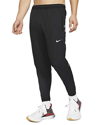 Nike M NK Run DVN ESNTL WVN Pant FL, negro y plateado, extra-large