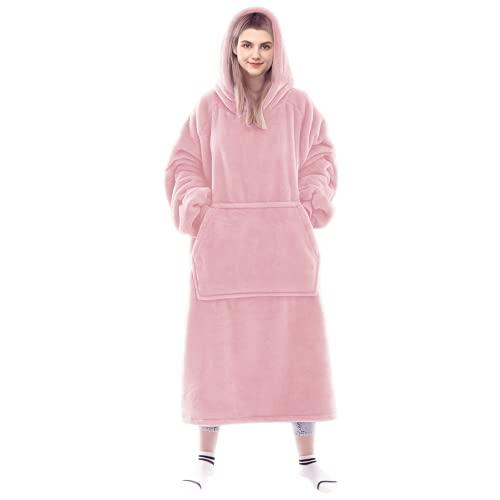 Lushforest Tragbare Decke Sweatshirt für Damen und Herren, super warm und gemütlich, große Decke Hoodie, Dicke Flanelldecke mit Ärmeln und riesiger Tasche (Rosa)