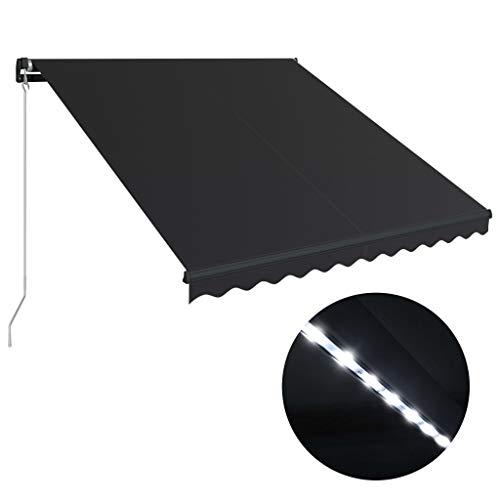 vidaXL Markise Einziehbar mit LED Manuell Gelenkarmmarkise Balkonmarkise Sonnenschutz Sichtschutz Terrasse Balkon 350x250cm Anthrazit