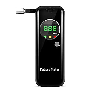 Keto 測定器、糖質制限 ダイエット、携帯式ケトン呼吸測定器 ケトンテスターマウスピース10個付き(ブラック)