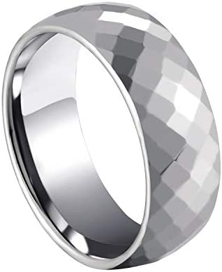 Milo Bruno 8MM Honeycomb Faceted Diamond Cut Tungsten Ring Silver 8 product image