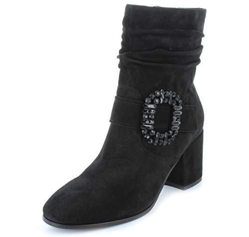 Kennel und Schmenger Schuhmanufaktur Damen Stiefelette mit Schmuckbrosche Jade Velour (Suede) schwarz 6 UK