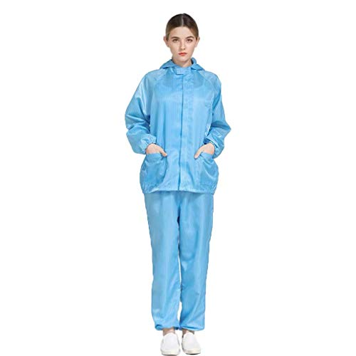 ESD Anti Static Clothing Suit Hooded Dust Proof Split Suit Jacket Trousers Pants Workshop Protective Workwear Uniform for Clean Room Whole Set (S, BLUE)