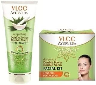 VLCC Ayurveda Skin Purifying Double Power Double Neem Facewash 100ml & Facial Kit 50gm Combo