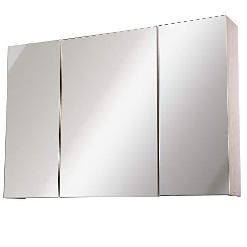 Homcom Armoire Murale Miroir Salle de Bain 3 Portes 3 étagères dim. 90L x 14l x 60H cm Panneaux Particules chêne Clair