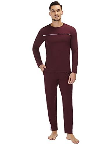 Doaraha Conjunto de Pijamas para Hombres Invierno Ropa de Dormir de 100% Algodón Pijamas Hombres de 2 Piezas de Manga Larga-Vino Tinto-XL