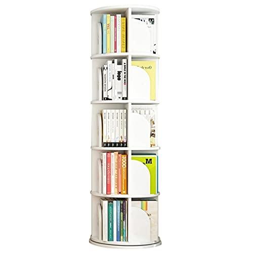 Librerías Estantería giratoria de 360 ° Soporte para Libros de imágenes para niños Estantería Ajustable en Altura Estimula el interés (Color : Blanco, Size : 50.5 * 159cm)