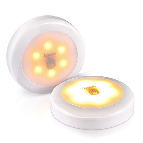 ipow LED Touch Lampe, 2er-pack Dimmbare Schrankleuchten batteriebetrieben überalle haftende Nachtlicht für Schrank Wand Treppen küchen - Warmweiß