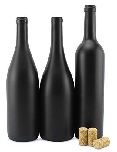 Cornucopia Black Wine Bottles w/Corks (Set of 3); Black Matte Coated Glass Wine Bottles Various Sizes for Decor and Homemade Wine; Use for Halloween Too