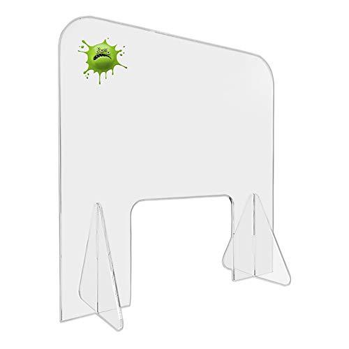 QWEASDF Spuckschutz Plexiglas Hustenschutz Niesschutz, Tragbare Niesschutz, 60 * 60Cm, Transparente Desktop-Schutzbarriere, Mit Transaktionsfenster, Um Zu Verhindern Niesen Und Husten