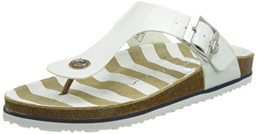 Tom Tailor Damen 1193401 Flache Sandale, White, 39 EU