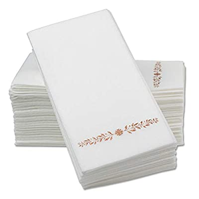 """12"""" x 17"""" Airlaid Paper Dinner Napkins – Rose Gold Foil Stamped 1/6 Fold Disposable Guest Hand Towels with Absorbent, Linen-Like Feel Weddings, Receptions, Parties and Bathroom (Rose Gold, 100 Count)"""