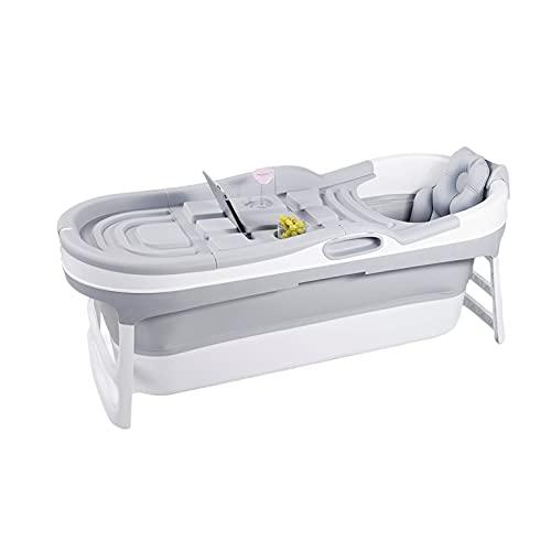 Hello Bath ® Baignoire pliable adulte / Baignoire gonflable gris + couvercles, housse de rangement, tuyau de drainage de 2 mètres et oreiller de bain luxueux – bain assis pour adulte - dépliable