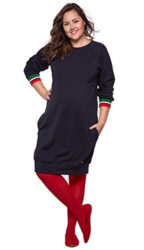 Be Mama Maternity & Baby wear Robe 2 en 1 pour femme en coton avec fonction d'allaitement - Bleu - XXXXL